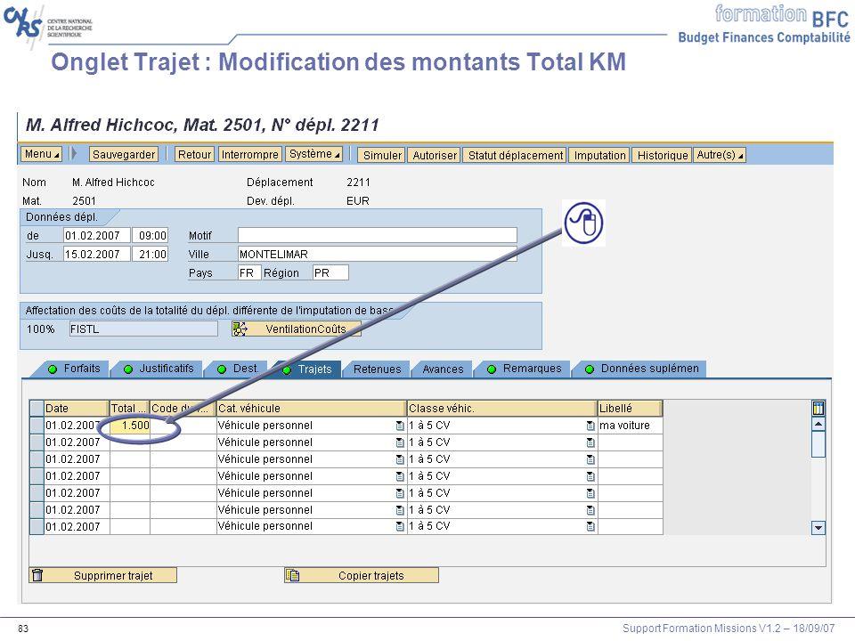Onglet Trajet : Modification des montants Total KM