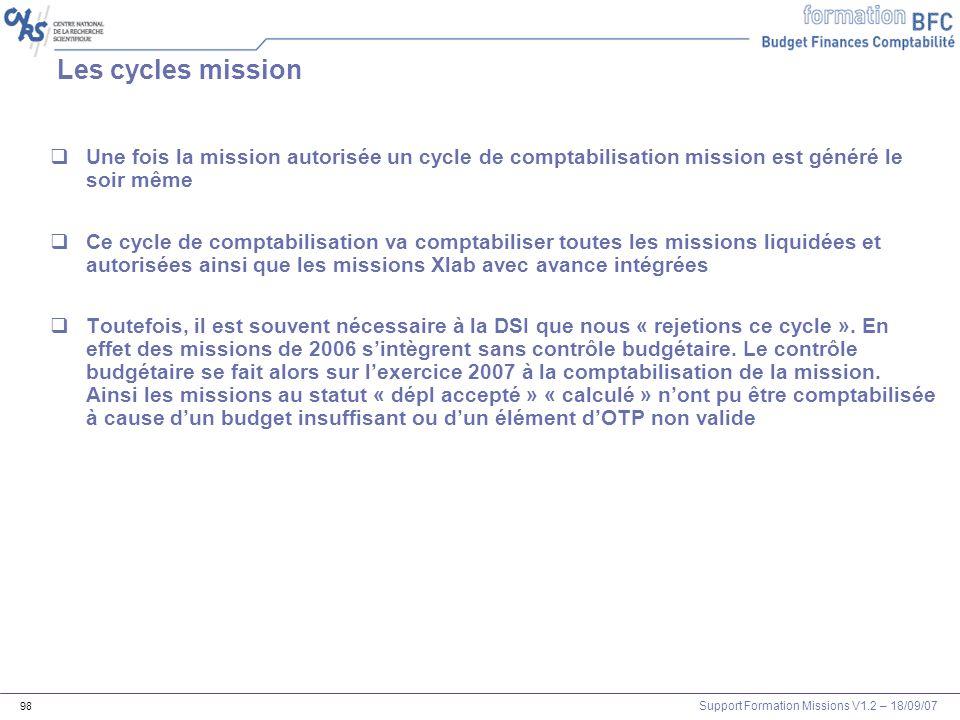 Les cycles mission Une fois la mission autorisée un cycle de comptabilisation mission est généré le soir même.