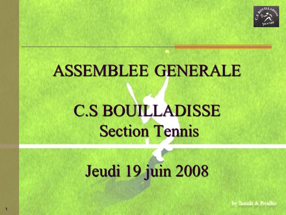 ASSEMBLEE GENERALE C.S BOUILLADISSE Section Tennis Jeudi 19 juin 2008