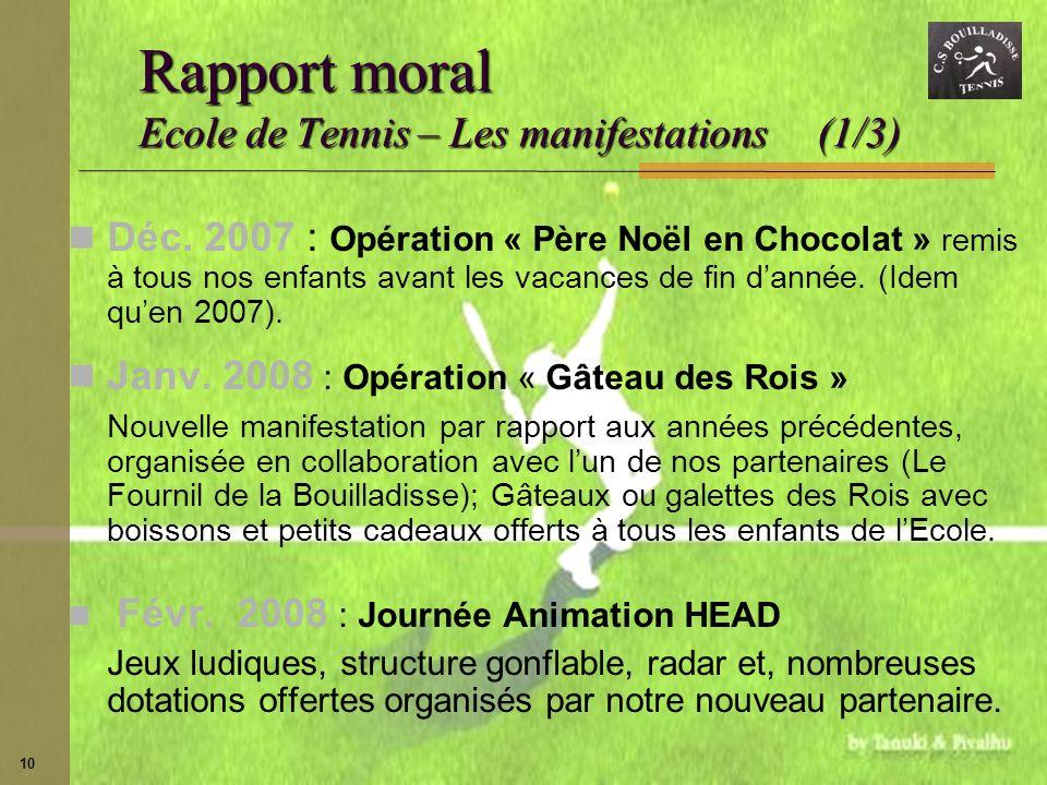 Rapport moral Ecole de Tennis – Les manifestations (1/3)