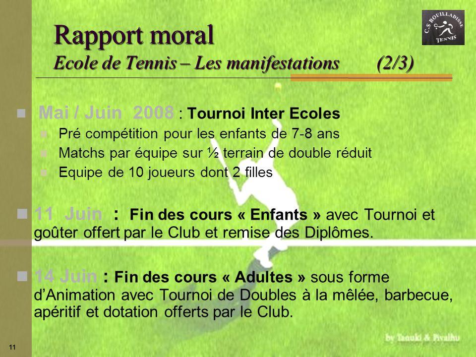 Rapport moral Ecole de Tennis – Les manifestations (2/3)