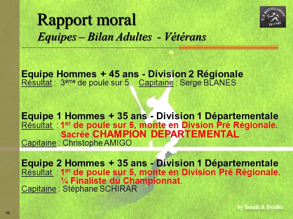 Rapport moral Equipes – Bilan Adultes - Vétérans