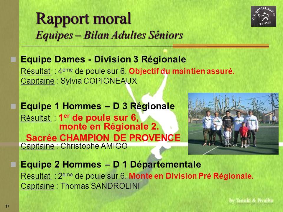 Rapport moral Equipes – Bilan Adultes Séniors