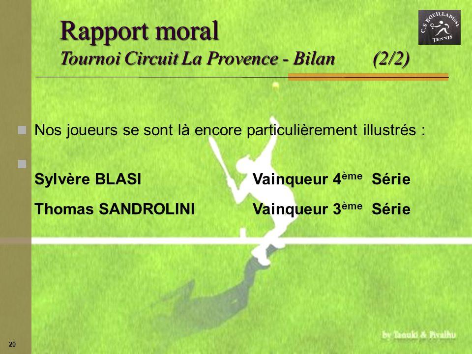 Rapport moral Tournoi Circuit La Provence - Bilan (2/2)