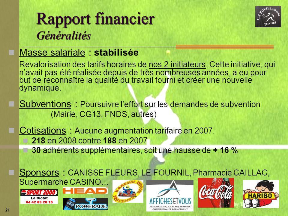 Rapport financier Généralités