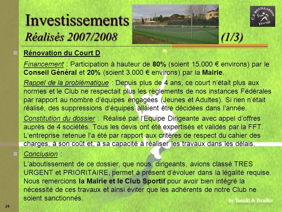 Investissements Réalisés 2007/2008 (1/3)