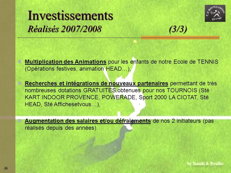 Investissements Réalisés 2007/2008 (3/3)