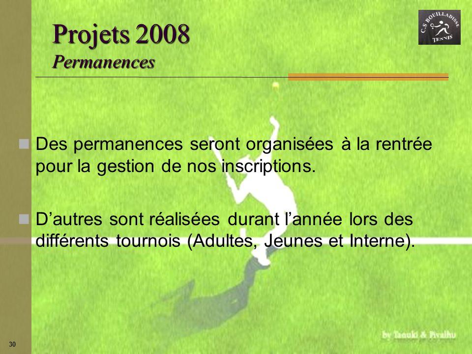 Projets 2008 Permanences Des permanences seront organisées à la rentrée pour la gestion de nos inscriptions.
