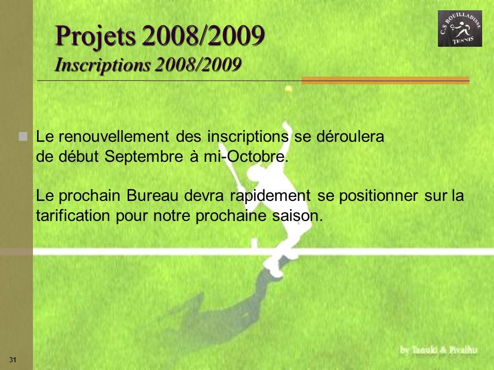 Projets 2008/2009 Inscriptions 2008/2009