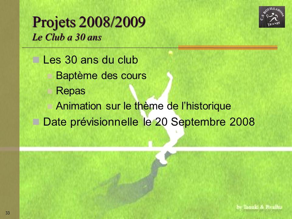 Projets 2008/2009 Le Club a 30 ans Les 30 ans du club