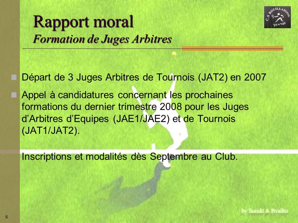 Rapport moral Formation de Juges Arbitres