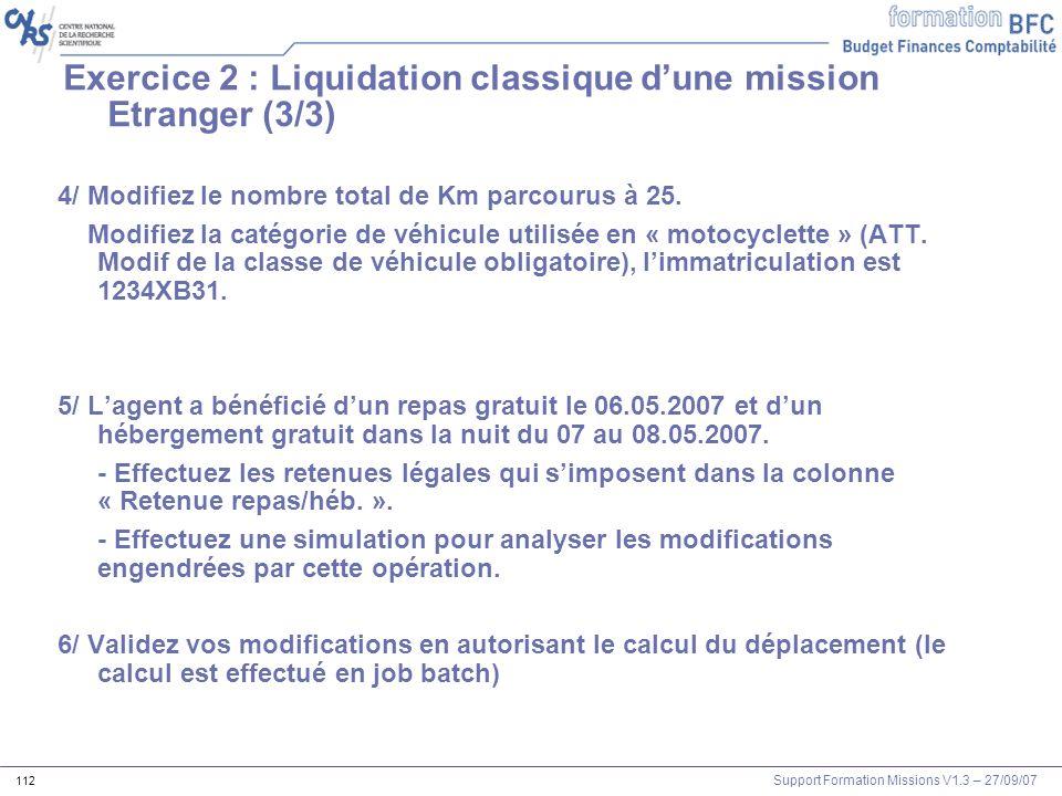 Exercice 2 : Liquidation classique d'une mission Etranger (3/3)