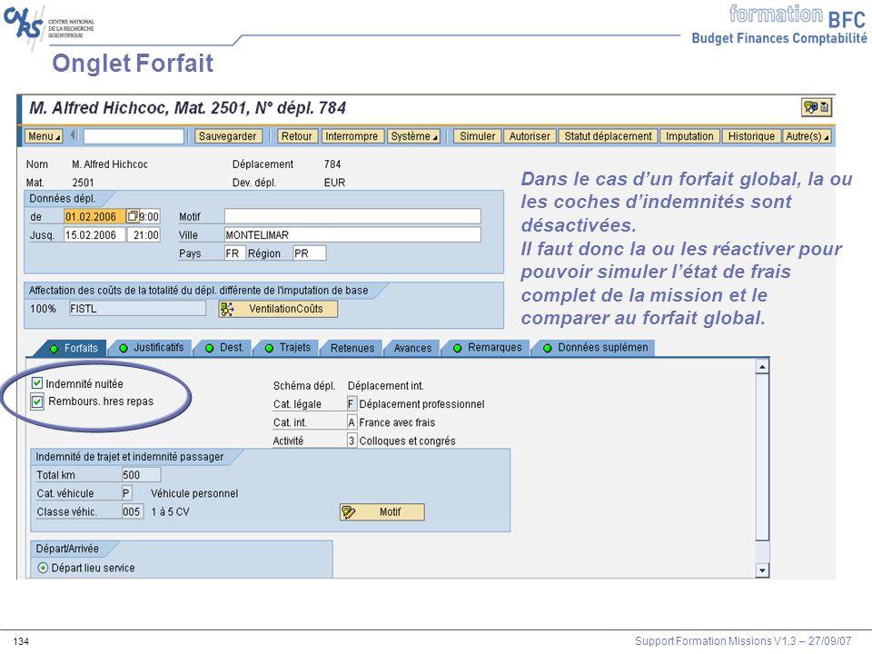 Onglet Forfait Dans le cas d'un forfait global, la ou les coches d'indemnités sont désactivées.
