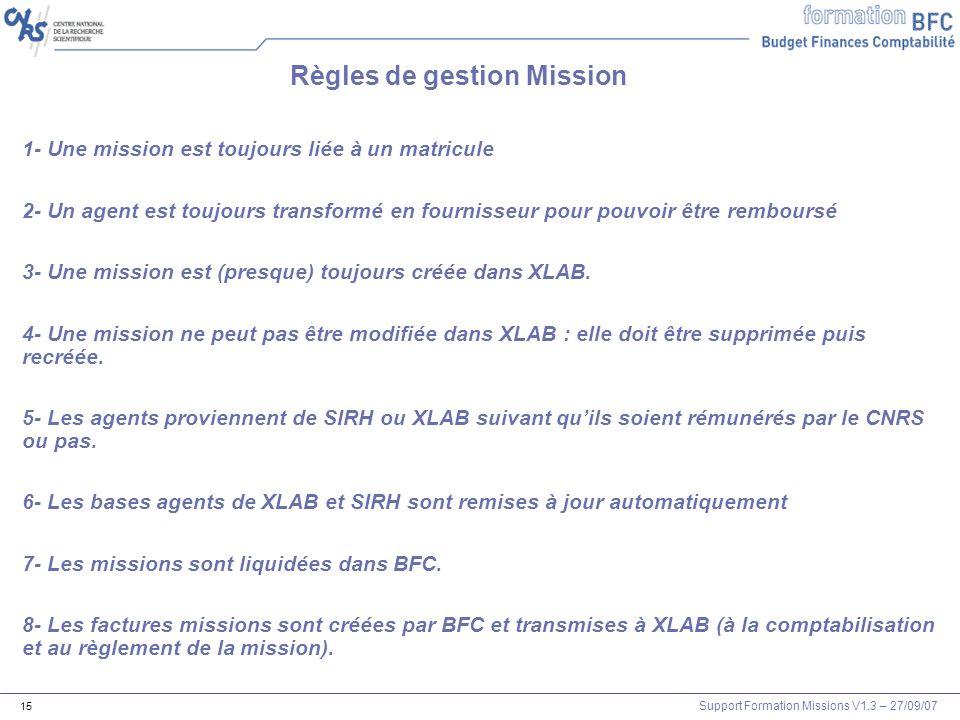 Règles de gestion Mission