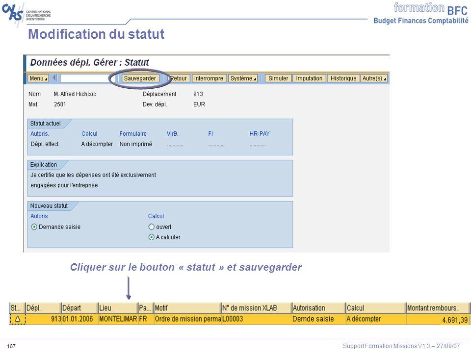 Modification du statut