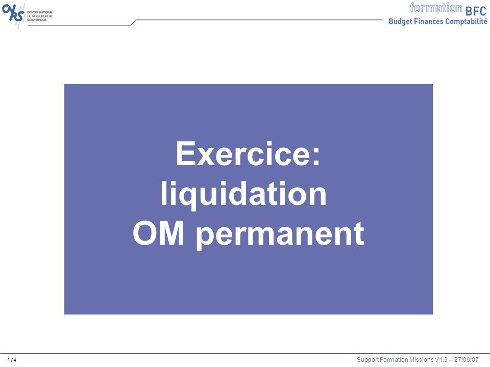 Exercice: liquidation OM permanent