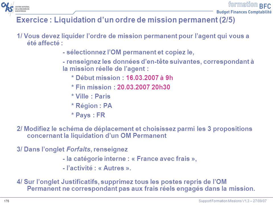 Exercice : Liquidation d'un ordre de mission permanent (2/5)