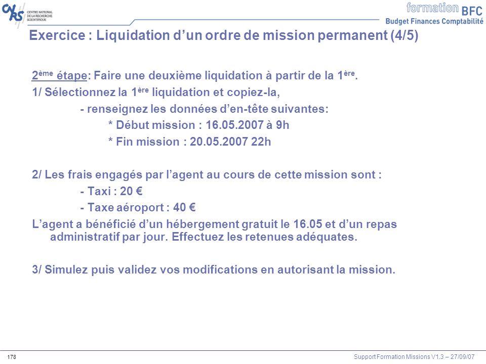 Exercice : Liquidation d'un ordre de mission permanent (4/5)