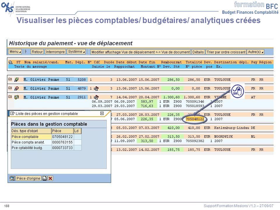 Visualiser les pièces comptables/ budgétaires/ analytiques créées
