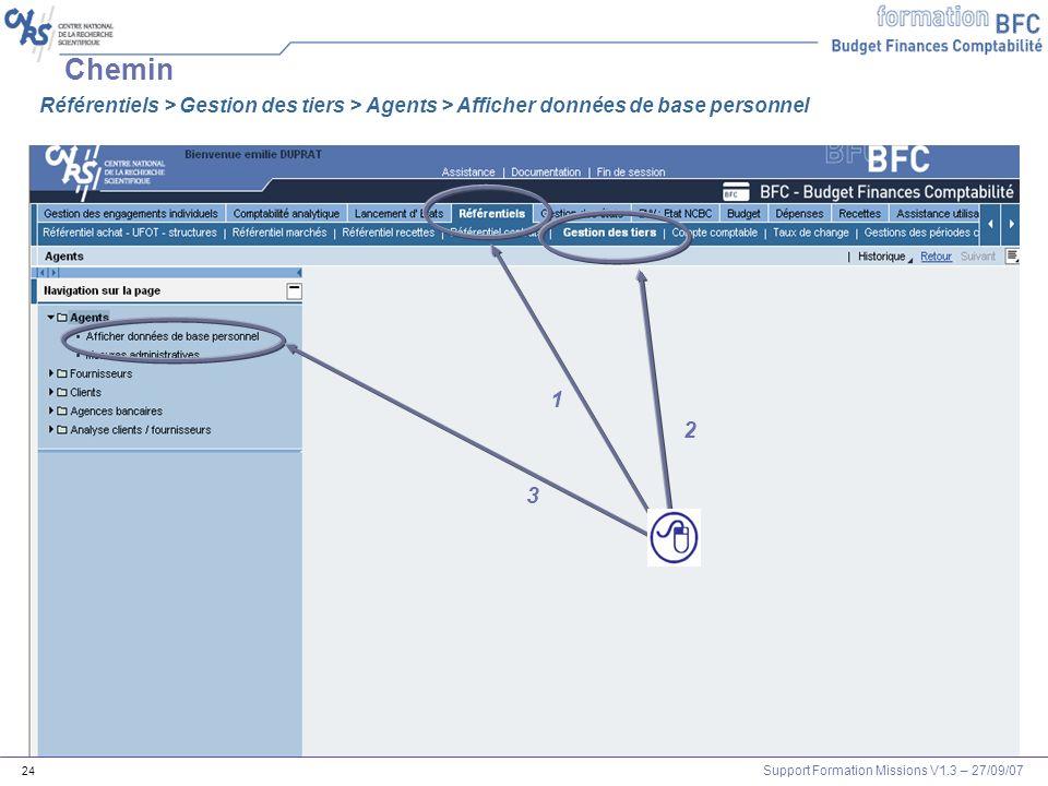 Chemin Référentiels > Gestion des tiers > Agents > Afficher données de base personnel 1 2 3