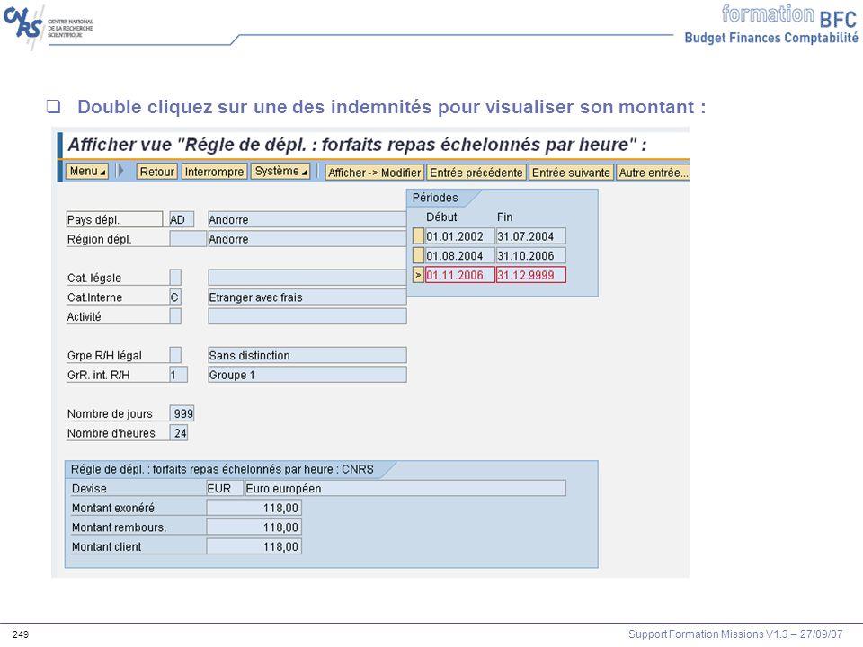 Double cliquez sur une des indemnités pour visualiser son montant :