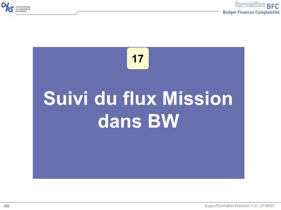Suivi du flux Mission dans BW