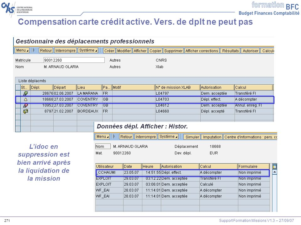 Compensation carte crédit active. Vers. de dplt ne peut pas