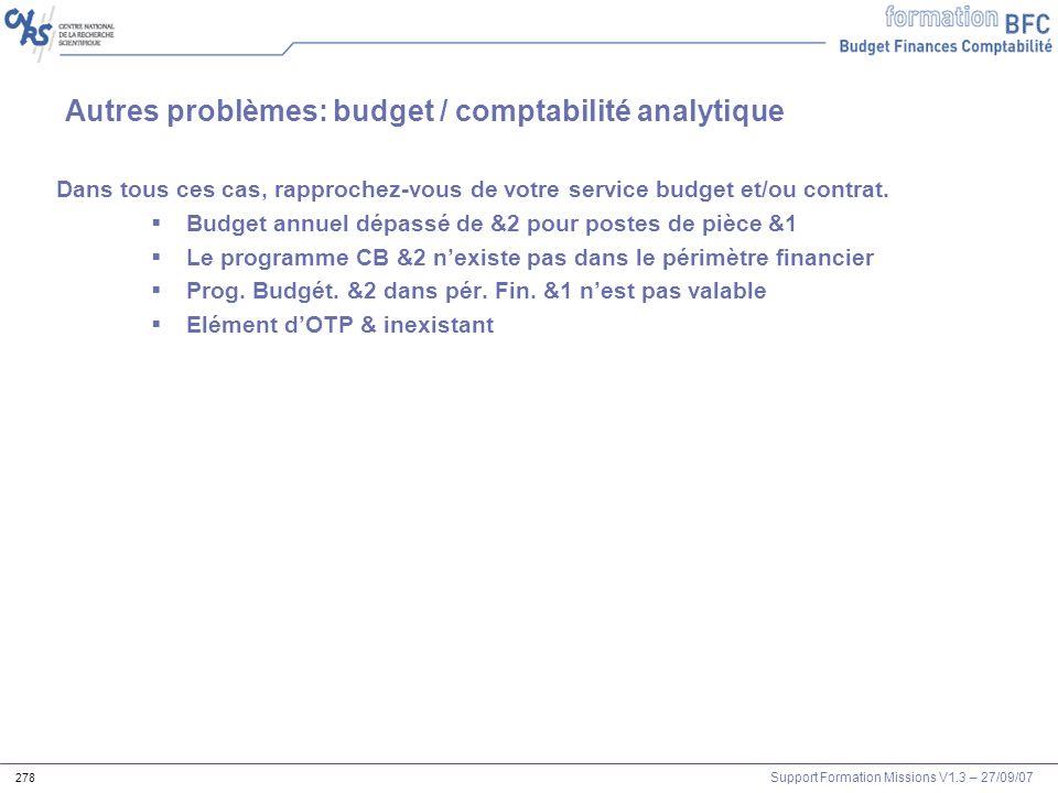 Autres problèmes: budget / comptabilité analytique