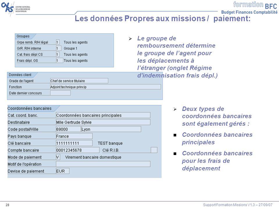 Les données Propres aux missions / paiement: