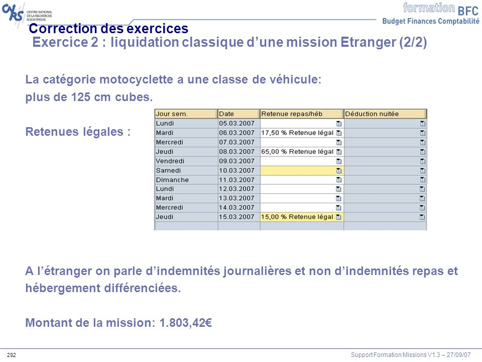 Correction des exercices Exercice 2 : liquidation classique d'une mission Etranger (2/2)