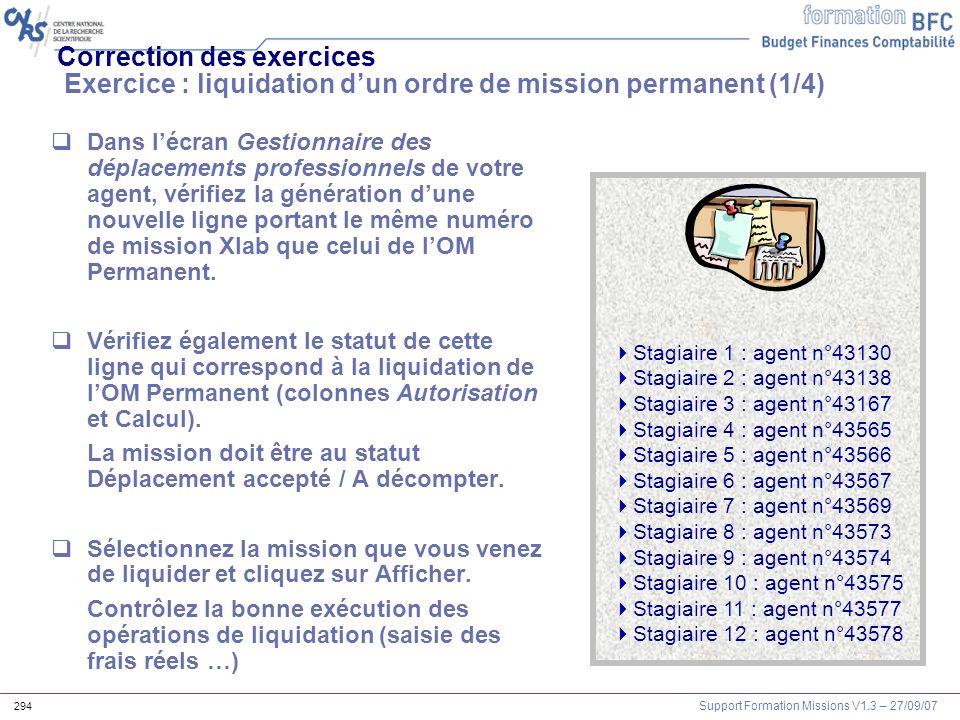 Correction des exercices Exercice : liquidation d'un ordre de mission permanent (1/4)