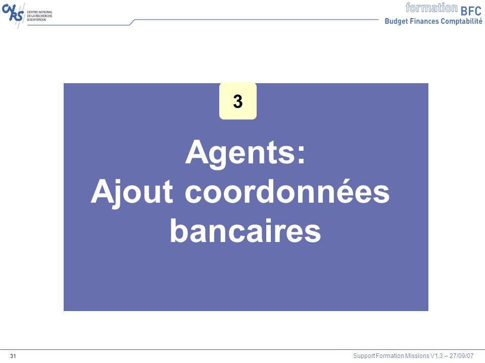 Agents: Ajout coordonnées bancaires