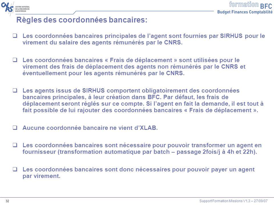 Règles des coordonnées bancaires: