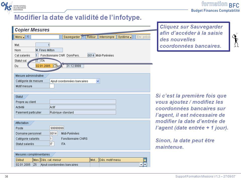 Modifier la date de validité de l'infotype.