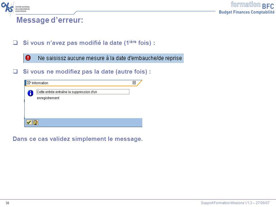 Message d'erreur: Si vous n'avez pas modifié la date (1ière fois) :