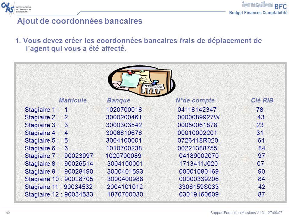 Ajout de coordonnées bancaires