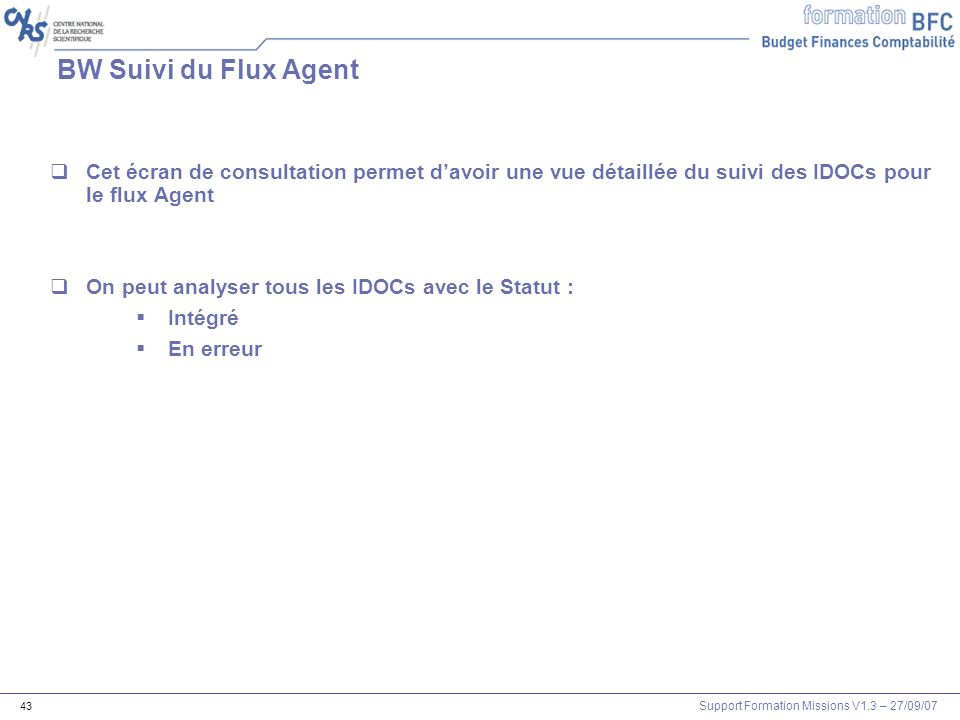 BW Suivi du Flux AgentCet écran de consultation permet d'avoir une vue détaillée du suivi des IDOCs pour le flux Agent.