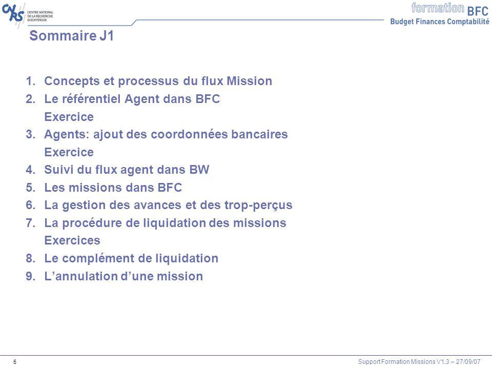 Sommaire J1 Concepts et processus du flux Mission