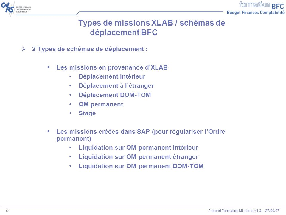 Types de missions XLAB / schémas de déplacement BFC