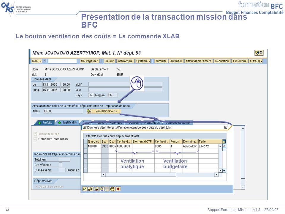 Présentation de la transaction mission dans BFC