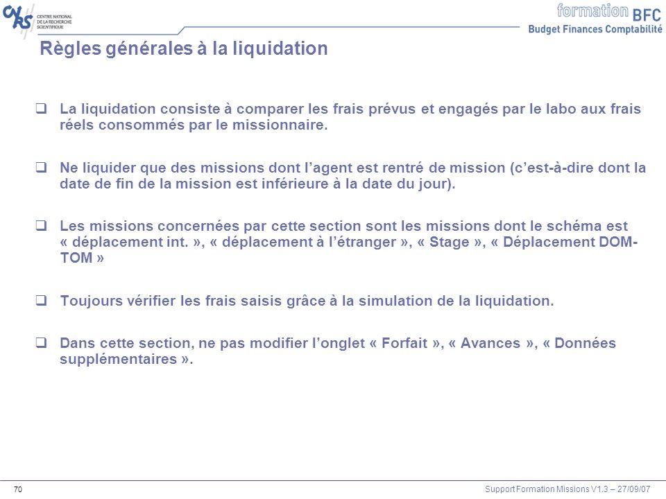 Règles générales à la liquidation