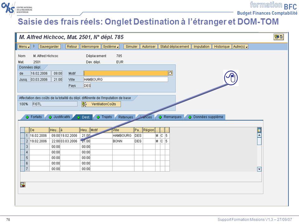 Saisie des frais réels: Onglet Destination à l'étranger et DOM-TOM