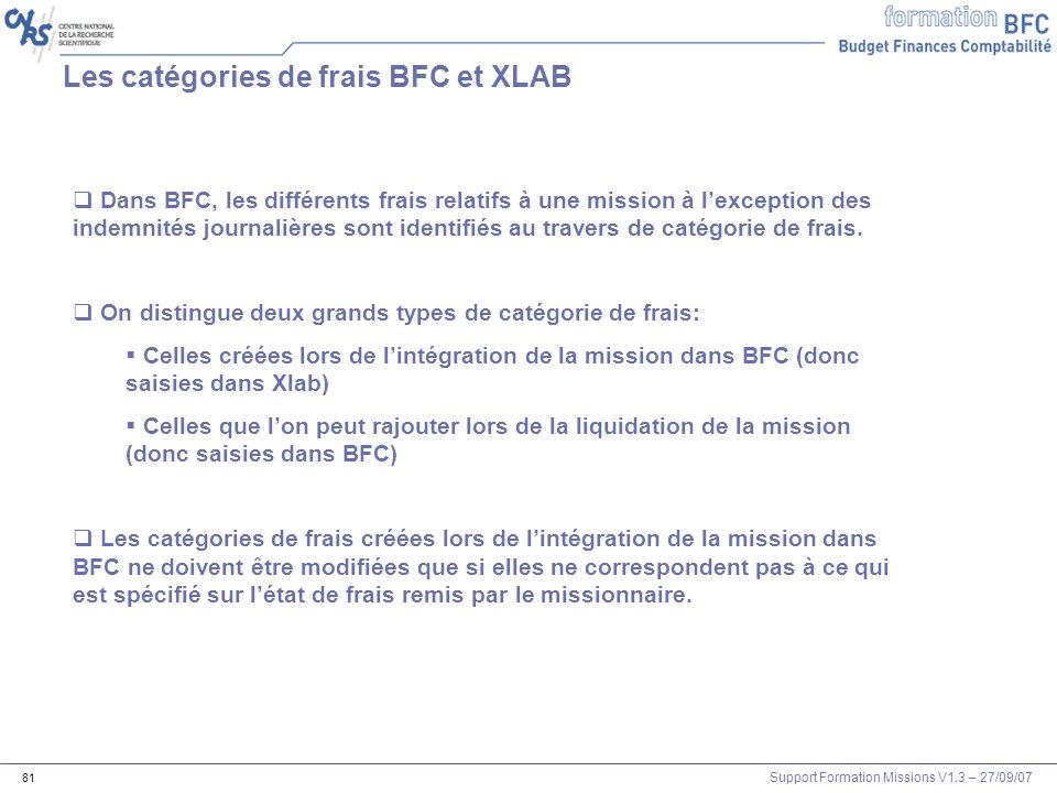 Les catégories de frais BFC et XLAB