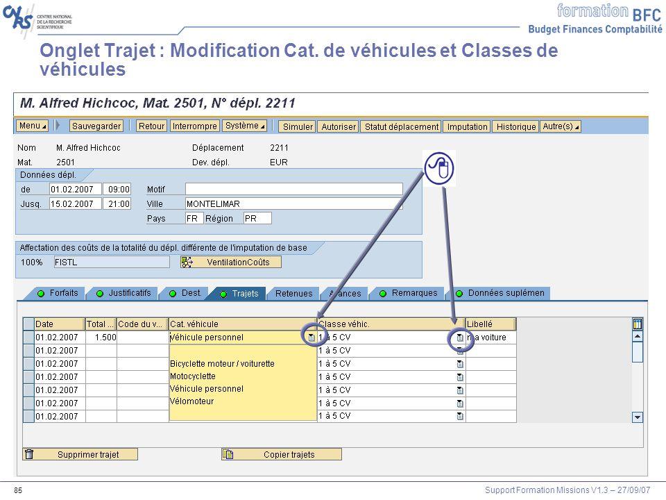 Onglet Trajet : Modification Cat. de véhicules et Classes de véhicules