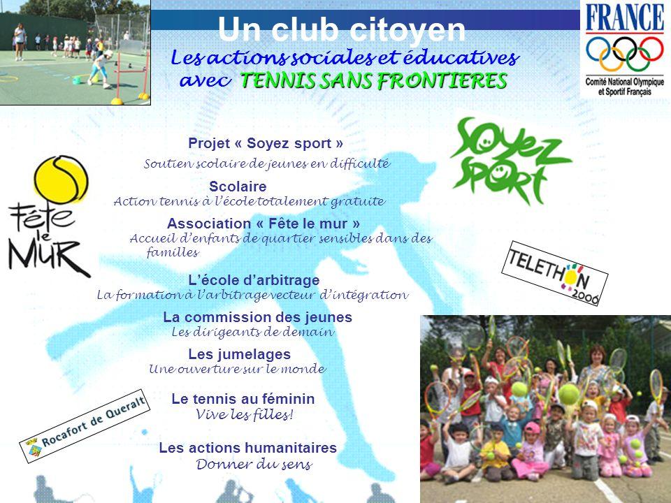 Un club citoyen Les actions sociales et éducatives avec TENNIS SANS FRONTIERES