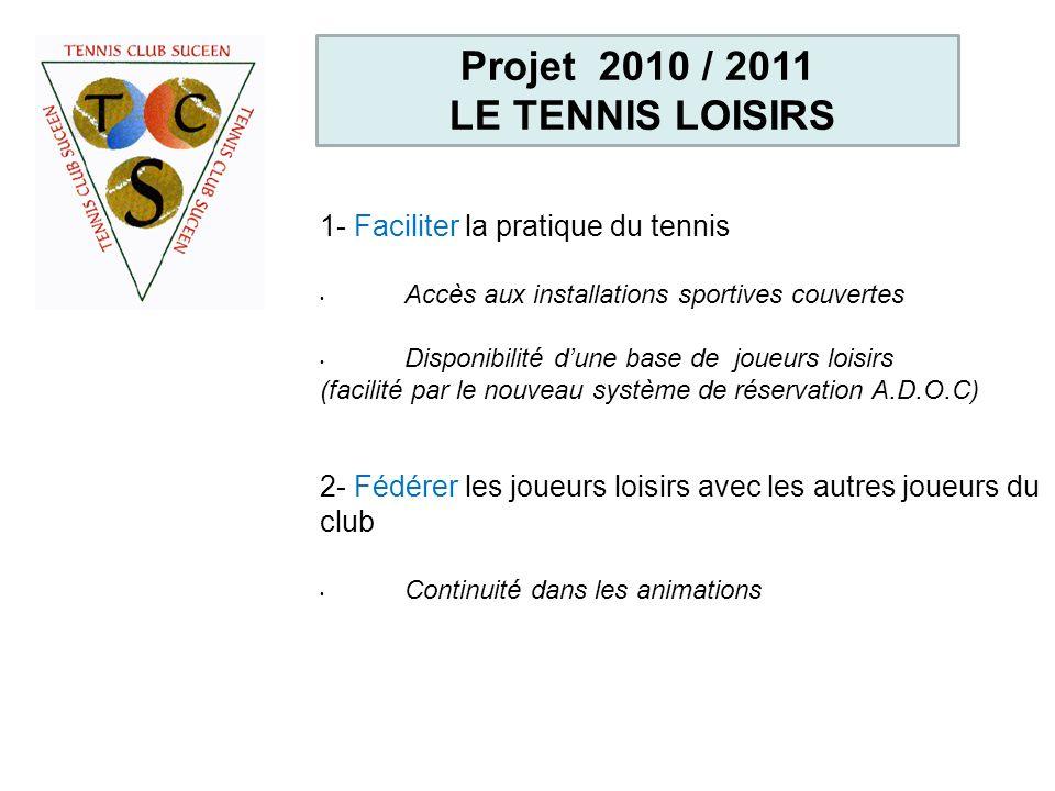 Projet 2010 / 2011 LE TENNIS LOISIRS