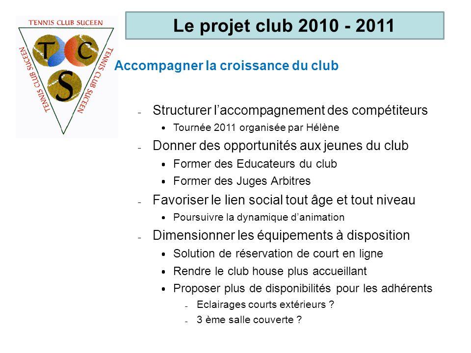 Le projet club 2010 - 2011 Accompagner la croissance du club