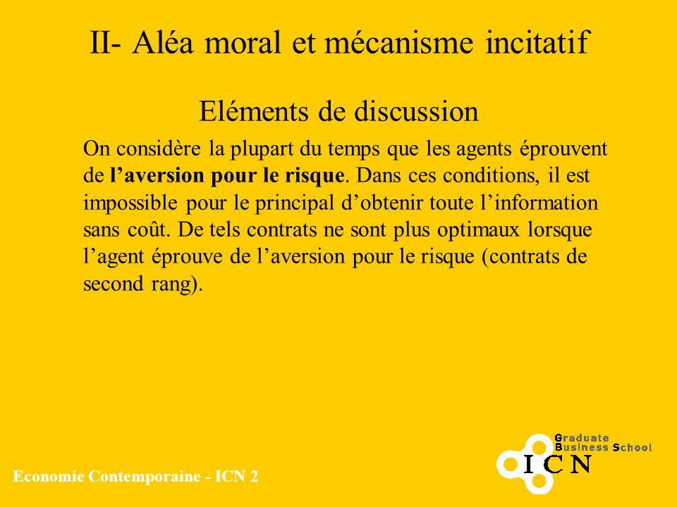 II- Aléa moral et mécanisme incitatif