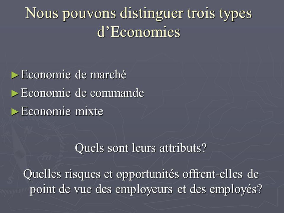Nous pouvons distinguer trois types d'Economies