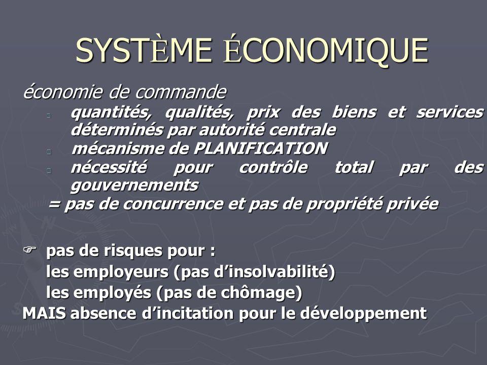 SYSTÈME ÉCONOMIQUE économie de commande mécanisme de PLANIFICATION